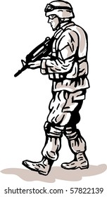 illustration of an american US military serviceman with rifle