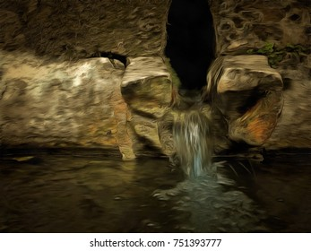 An illustration of an ancient water spring welling from stones bricks built on the mountain.