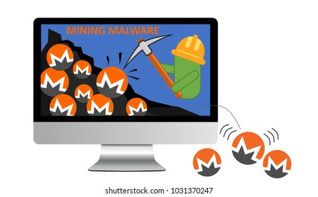 Illustration of android crypto mining malware. Cybersecurity concept: Malware for mining the digital currency Monero to run on computers that visited infected sites, generating money for the hacker