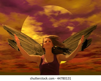 Illustration of an angel with a sun background. Looking sad and distraught