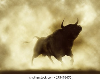 Illustration of an angry bull silhouette in a smoky or dusty atmosphere