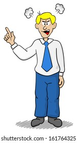 illustration of a angry cartoon business man