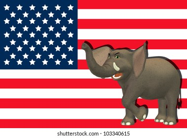 Illustration of an angry elephant in front of the flag of the united states of america