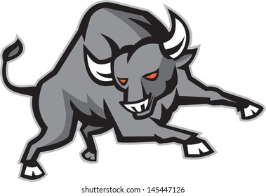Illustration of an angry raging bull facing front snorting done in retro style.