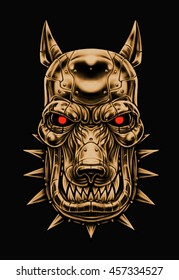 Illustration of an Angry robot Dog sign. Beware of dog. Terminator ppuppy