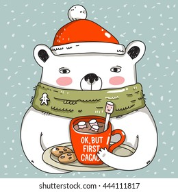 Illustration Animals: White Bear Drink Cacao in Red Cup