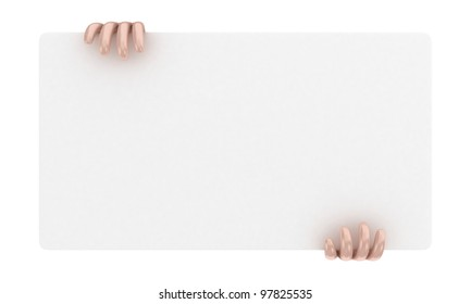 Illustration of a announcement board in hands on a white background