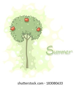 Illustration of an apple tree with text
