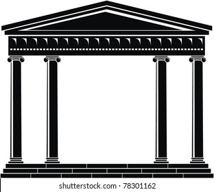 Illustration of architectural element - Portico (Colonnade), ancient temple: black, isolated, white background