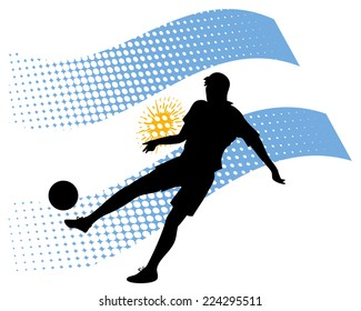 illustration of argentina soccer player silhouette against national flag isolated on white