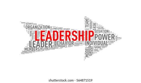 Illustration of arrow shape tags wordcloud of leadership