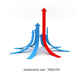 Illustration of arrows directed upwards as success