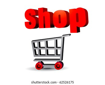 illustration art of the shopping cart On-line Business transaction
