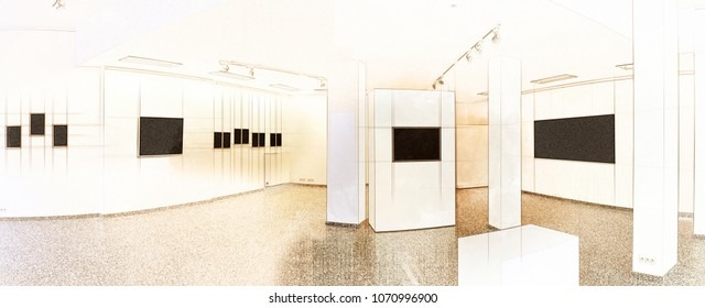 Illustration Art sketch of a exhibition gallery, wall mounted art with museum style lighting, the art has been removed and replaced.