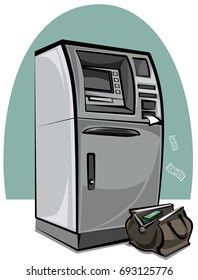 illustration of atm bank machine with cash money in bag