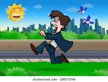illustration of an attractive business man running away from birds on city background