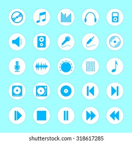 Illustration of audio icons set made in clean and simple design. Music signs
