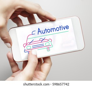 Illustration of automotive car rental transportation on mobile phone
