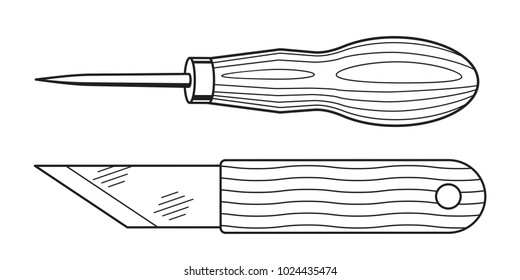 Illustration of the awl and knife tools
