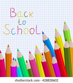 Illustration back to school message with pencils on paper sheet background - raster