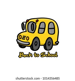 Illustration of a back to school sign and a yellow school bus on white background