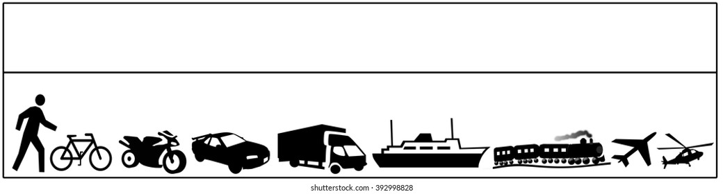 Illustration background of an assortment of images showing types of  transportation beginning with man walking.  Black and white.  Text area above.