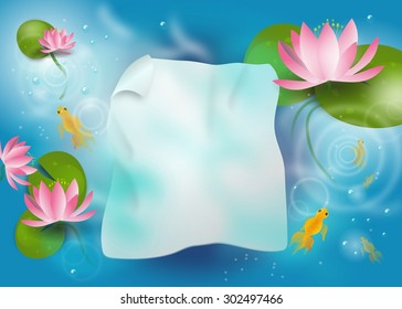 Illustration of background paper sheet under water in lagoon