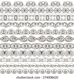 illustration background with set of linear calligraphic ornaments