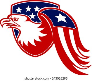 Illustration of a bald eagle facing side with stars and stripes wing set inside shield with american flag on isolated white background.
