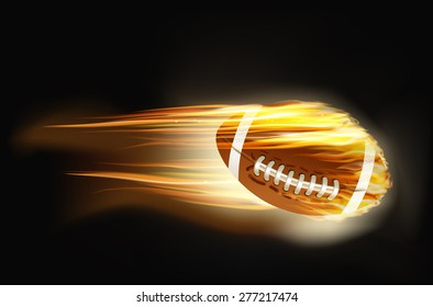 illustration ball for American football on fire