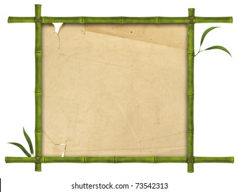illustration of bamboo frame with leaves and paper