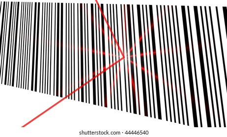 Illustration of a barcode with red laser light - (16:9 ratio)