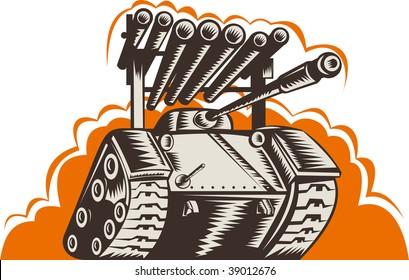 illustration of a Battle tank with rocket launcher