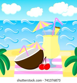 illustration. Beach, sea, waves, clouds palm trees cocktail pina colada coconut