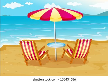 Illustration of a beach umbrella with chairs at the seashore