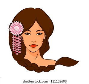 illustration of a beautiful Asian woman with braided hair and flower decoration