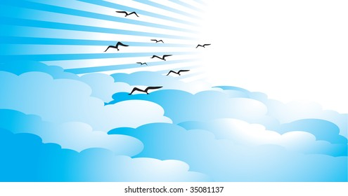Illustration of a beautiful bright sky with rays, clouds and birds