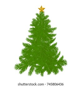 Illustration of a beautiful Christmas green tree  on a white background
