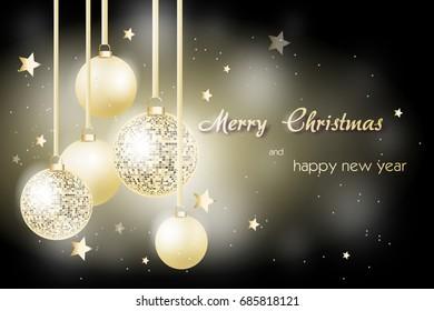 Illustration of beautiful christmas greeting card with christmas bulbs