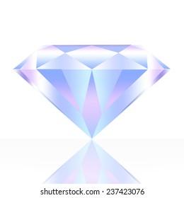 Illustration of beautiful diamond, isolated on white background.