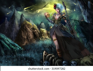 Illustration: The Beautiful Female Ghost Walker With Fatal Attraction, and With Horror Dark Skeleton Armies. Fantastic Cartoon Style Wallpaper Background Scene Design.