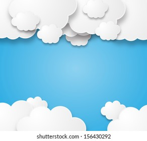 Illustration of a beautiful fluffy empty clouds on a blue background