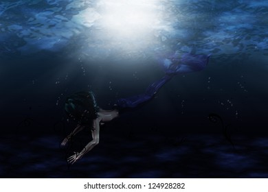 Illustration of beautiful mermaid in underwater scene