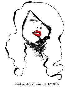 Illustration of beautiful modern, hand drawn style elegant woman portrait