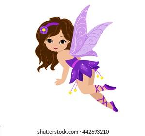 Illustration of a beautiful purple fairy in flight. Raster copy.