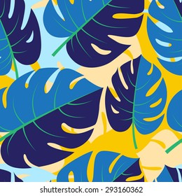illustration Beautiful seamless tropical jungle floral graphic seamless background pattern with palm leaves