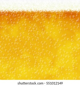 Illustration of beer with air bubbles and foam. Raster version