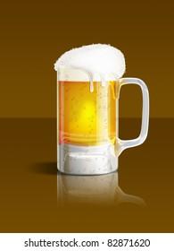 An illustration of a beer mug on brown background