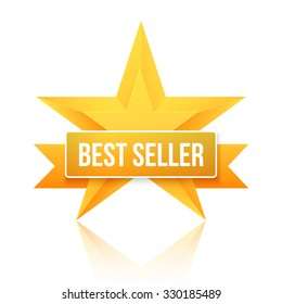 Illustration of Best Seller Gold Star Background. Five Stars Top Rating Icon. Photorealistic Gold Stars Template