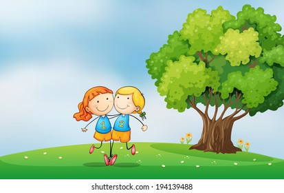 Illustration of the bestfriends at the hilltop near the tree